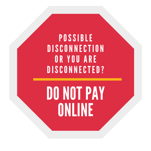 STOP do not pay online if you could be or are disconnected image