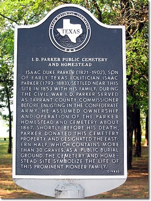 Parker Cemetery marker 1983