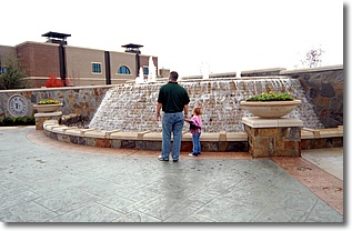 wall fountain with people