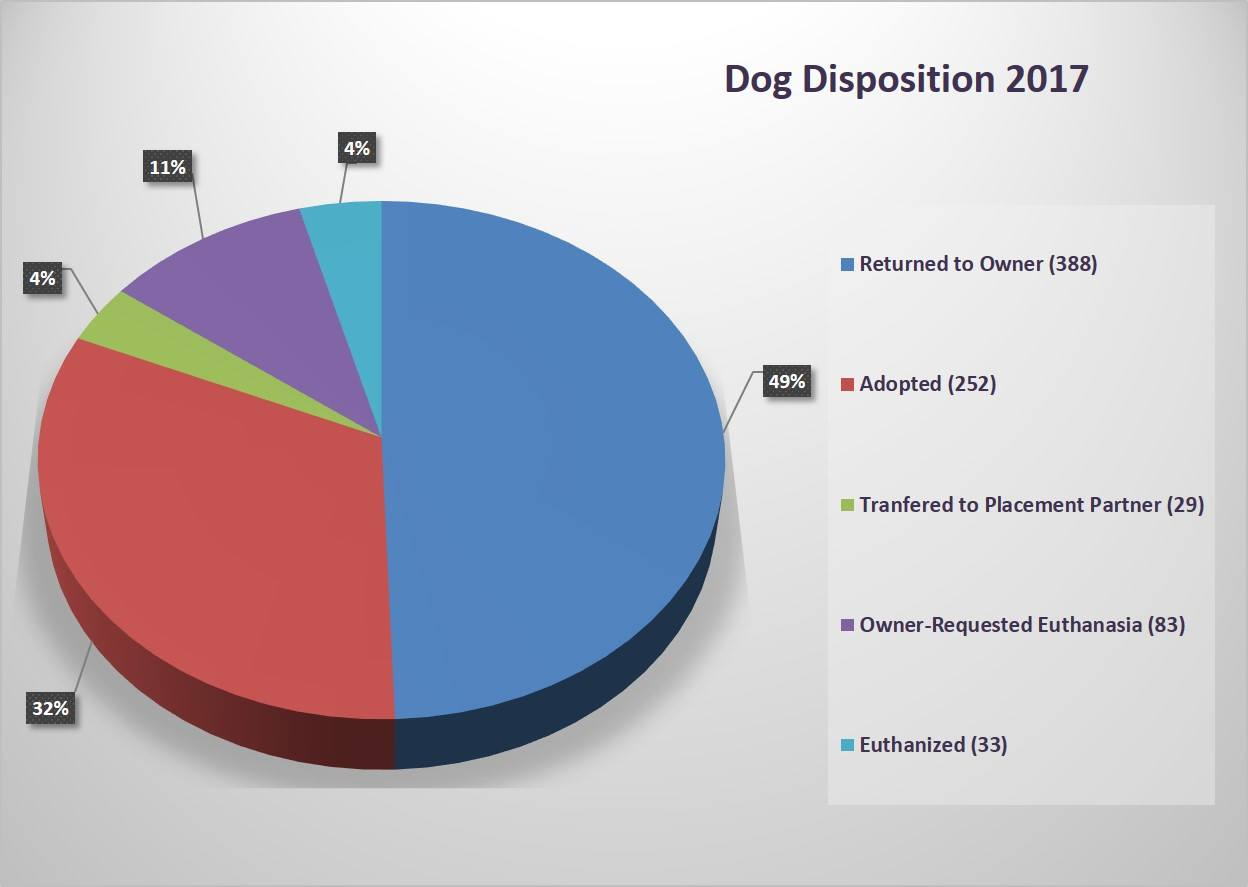 Pie chart showing disposition of dogs at the Hurst Animal Shelter for the year of 2017