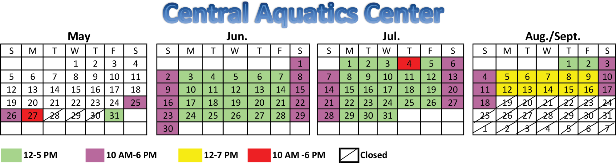 Central aquatics center 2019 schedule image