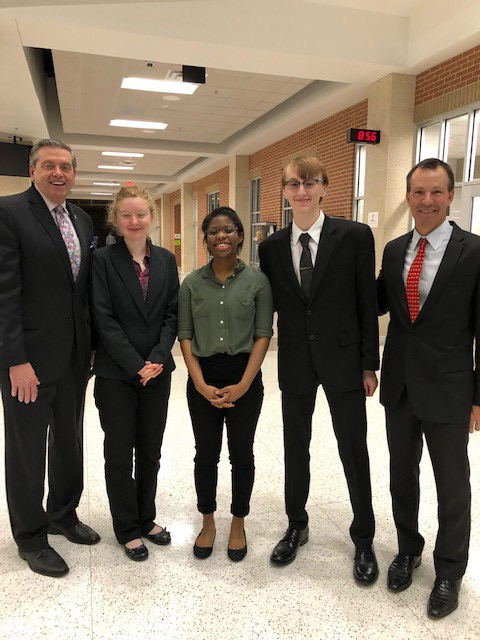 HEB Teen Court students with Bedford Mayor Griffin image