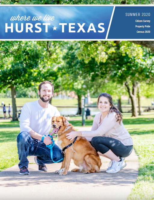 City of Hurst Where We Live Summer 2020 magazine cover, couple with a dog in the park